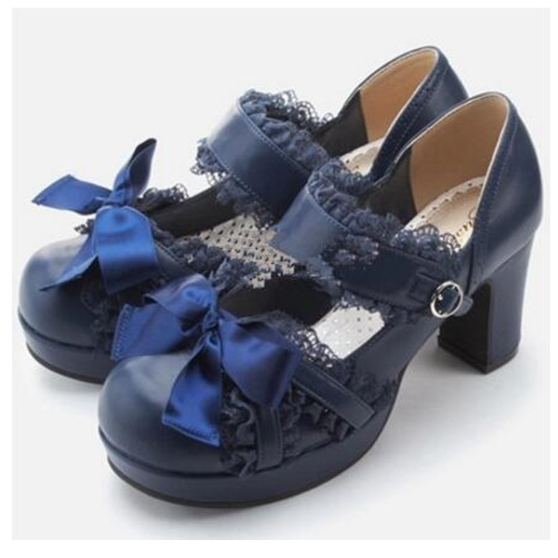 Japanese QB Classical Lace Princess Girls Daily Lolita Shoes 2017 Ribbon Bow Pumps With Platform Chunky Heel princess sweet lolita shoes japanese design customized special shaped black matt tie platform heel shoes 8528x