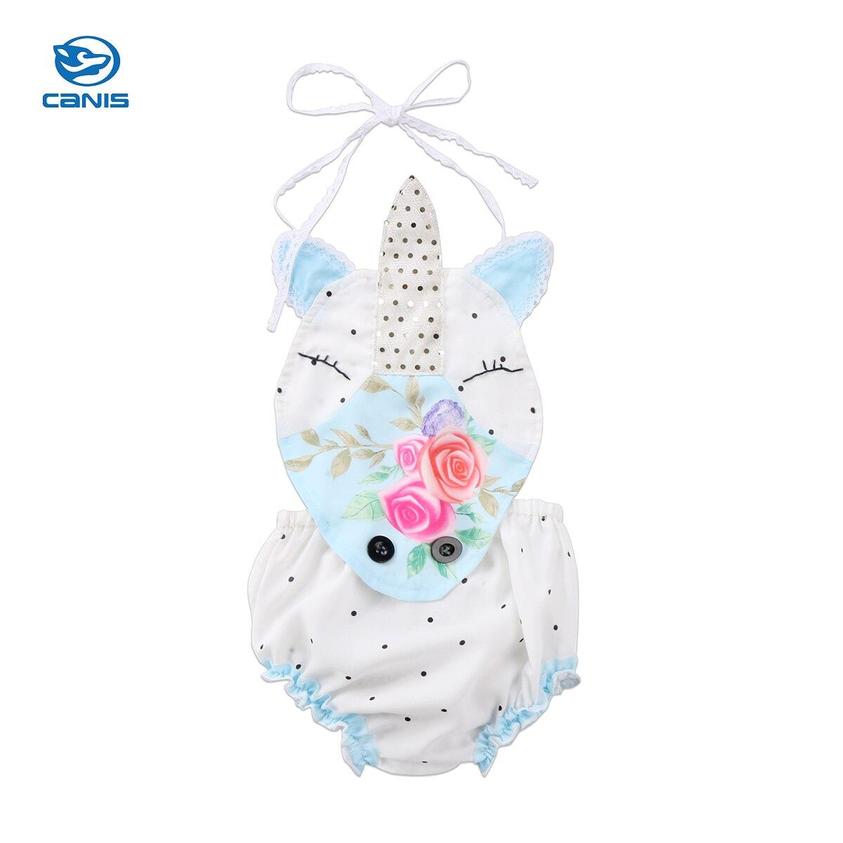 Baby Clothing Newborn Baby Girl Unicorn Romper Floral Sleeveless Romper Drawstring Romper Jumpsuit Summer Children Clothing