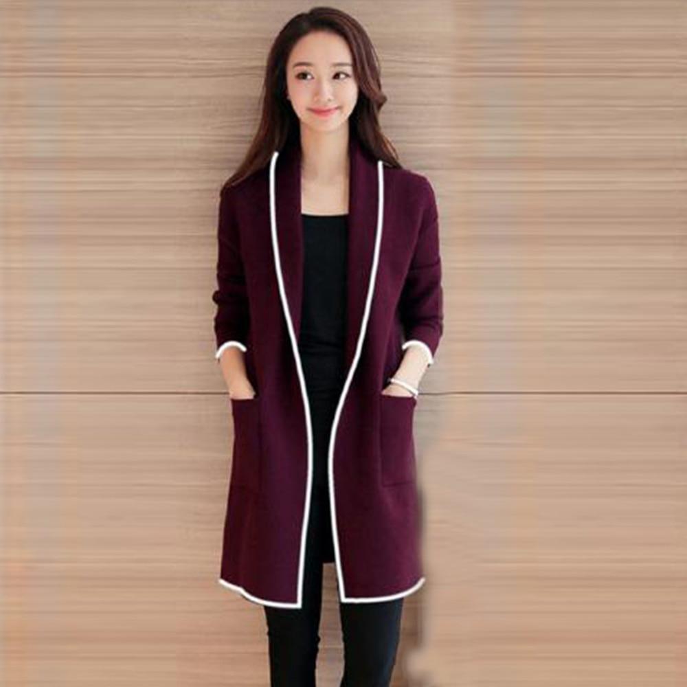 Buy Korean Long Sleeve Cardigan Pockets Wool Coat Women Autumn Winter Open Stitch Blends Large Business Blazer Slim Long Coat for only 14.19 USD
