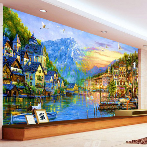 Buy personalized 3d wallpaper european for 3d mural painting tutorial