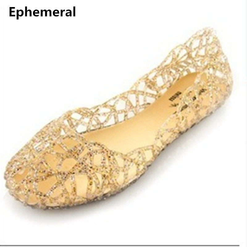 Lady's jelly crystal cut-out flats fashion round toe single shoes pvc in summer beach loafers casual slip ons plus size 40 pink summer slip ons 45 46 9 women shoes for dancing pointed toe flats ballet ladies loafers soft sole low top gold silver black pink