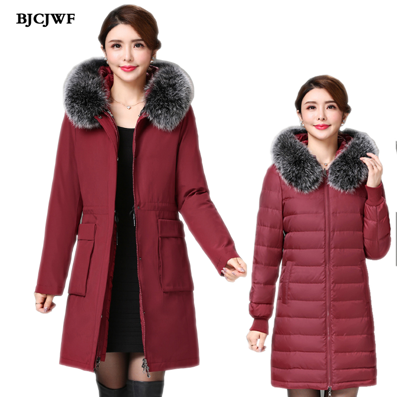 2018 winter Newest 3in1 Design women   down     coat   Luxury Fox fur Hooded Removable Parka Top Quality 90% white duck   down   jackets