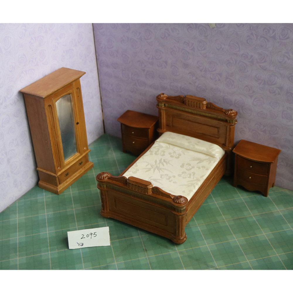 Kids Bedroom Furniture Kids Wooden Toys Online: 1:12 Dollhouse Wooden Miniature Bed Furniture Toy Chair