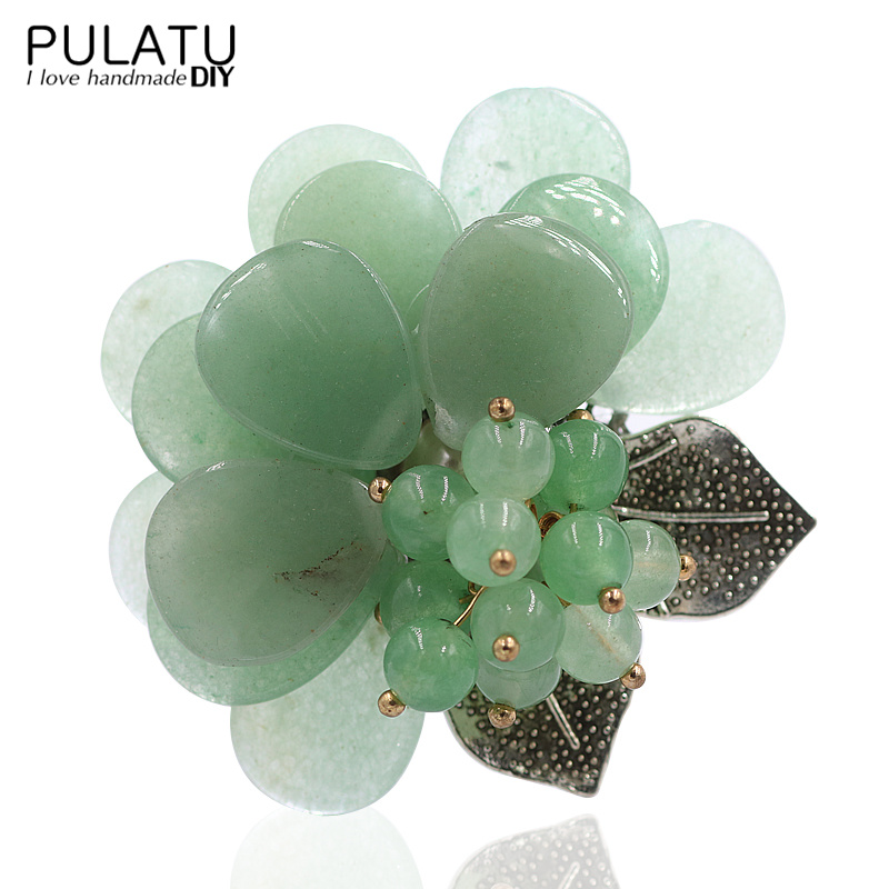 PULATU 2colors Original Handmade Flower Brooches Natural Stone Accessories Pendant DIY Brooch Pins Women Birthday Gift Jewelry все цены