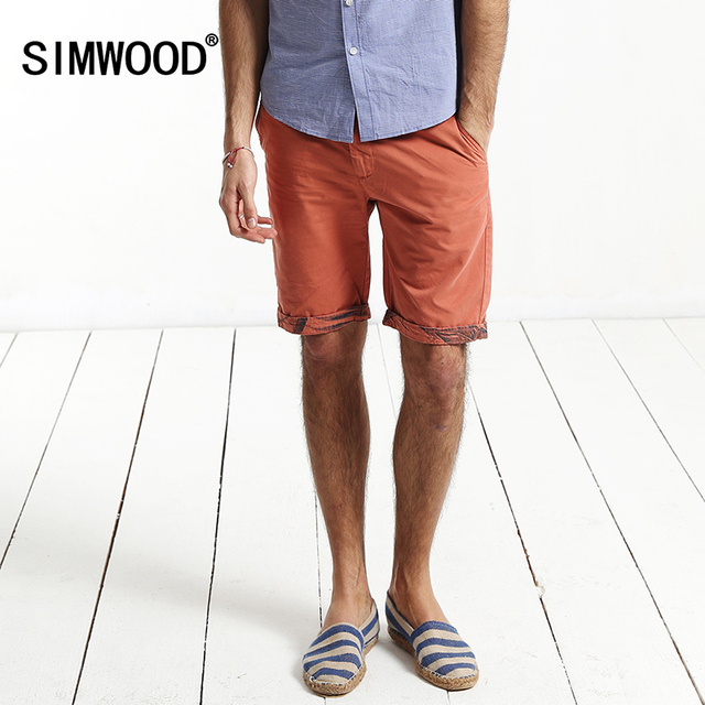 2016 New Arrival Simwood Brand Men Clothing Summer Slim Fit  Casual Cotton Shorts Plus Size Free Shipping KD520