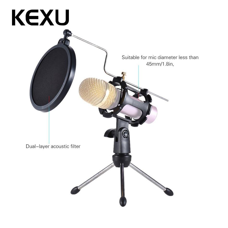 Kexu Hitam Desktop Mikrofon Berdiri Meja Plastik Mini Mic Klip Pop Filter Layer Ganda Bop Pemegang Tripod Dengan Layar Jala Micro Di Microphones Dari