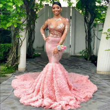 Pink Plus Size Mermaid Prom Dresses 2019 Long Sleeves