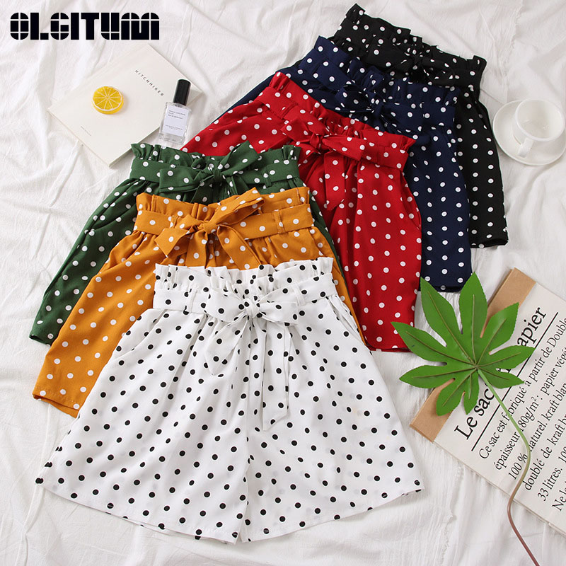 Women Polka Dot Shorts Summer 2019 Casual High Waist Chiffon Loose Elastics Waist Shorts Female Pantalones Cortos De Mujer