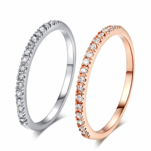 Gold Concise Classical CZ Wedding Ring Rose Gold Color Austrian Crystals