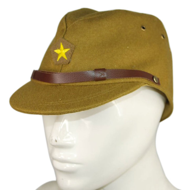 e41eb48e2b8 Retro Japanese Army Cap For Men WW2 Japanese Army Officer Field Wool Cap  Hat Army Green combat hat Military Fans Collection LB