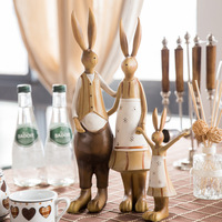 resin family rabbit figurines vintage statue rabbits wedding home decor crafts room decoration objects resin animal figurines