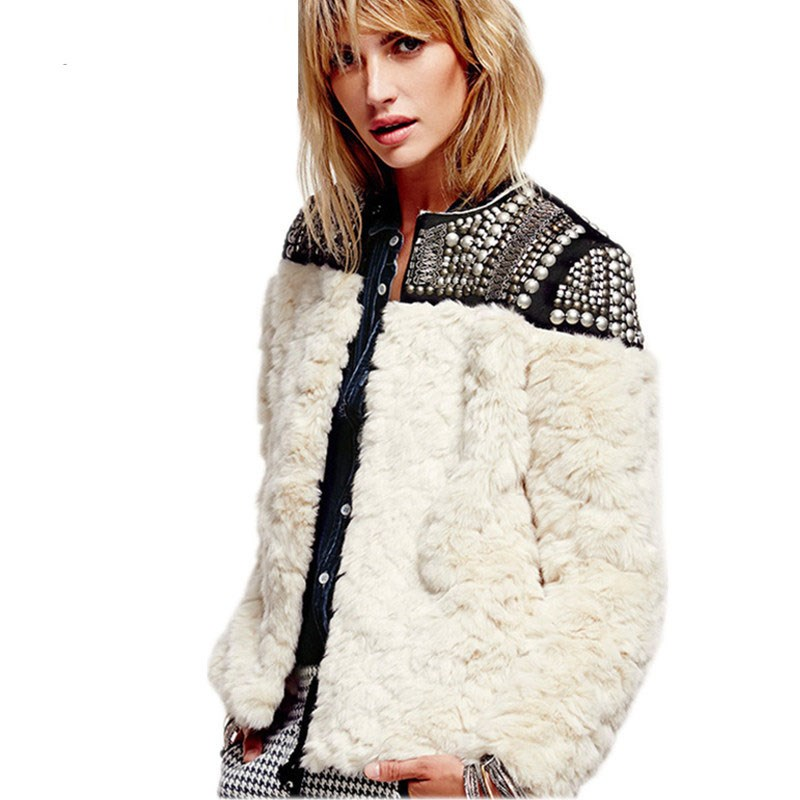 2018 Winter Women Loose Patchwork Fur Coat Long Sleeve Beading Thick Warm And Coats O Neck   Basic     Jackets   Streetwear