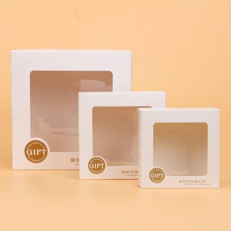 50 pcs 18x18x8 cm carré blanc carton fenêtre boîte à gâteau de bonbons au chocolat biscuit boite d'emballage de mariage parti équipe coffret cadeau