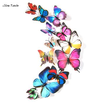 12pcs magnetic refrigerator Decal 3D Butterfly Colorful Wall Stickers Home Decorations rysunek kolorowy motyle