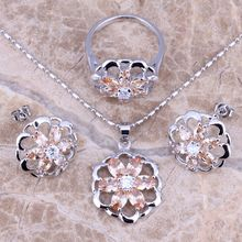 Attractive Champagne Morganite Silver Jewelry Sets Earrings Pendant Ring Size 5.5 - 8 S0139(China)