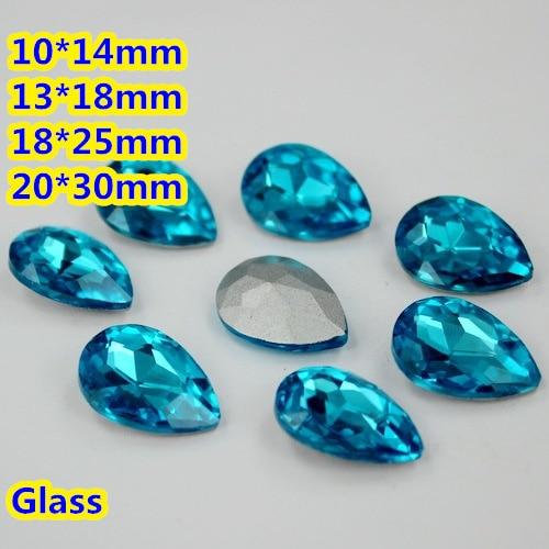 Aquamarine Pear Teardrop Crystal Fancy Stone Point Back Glass Stone For DIY Jewelry Accessory.10*14mm 13*18mm 18*25mm 20*30mm