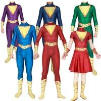 Anime Captain Marvel Cosplay Costumes Shazam Billy Batson Men Women Girls Dress Spandex Zentai Jumpsuits Catsuit Bodysuits New