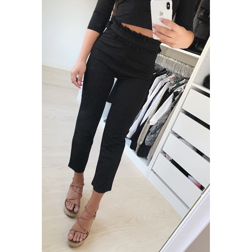2018 New Black&White&Gray Suede Women Pants Waist Pleated Patchwork Trousers