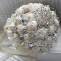 Top Quality Stunning Diamond Ivory Wedding Bouquet Durable Holding Flowers Crystal Brooch Pearl Bridal Bouquets Multi-styles
