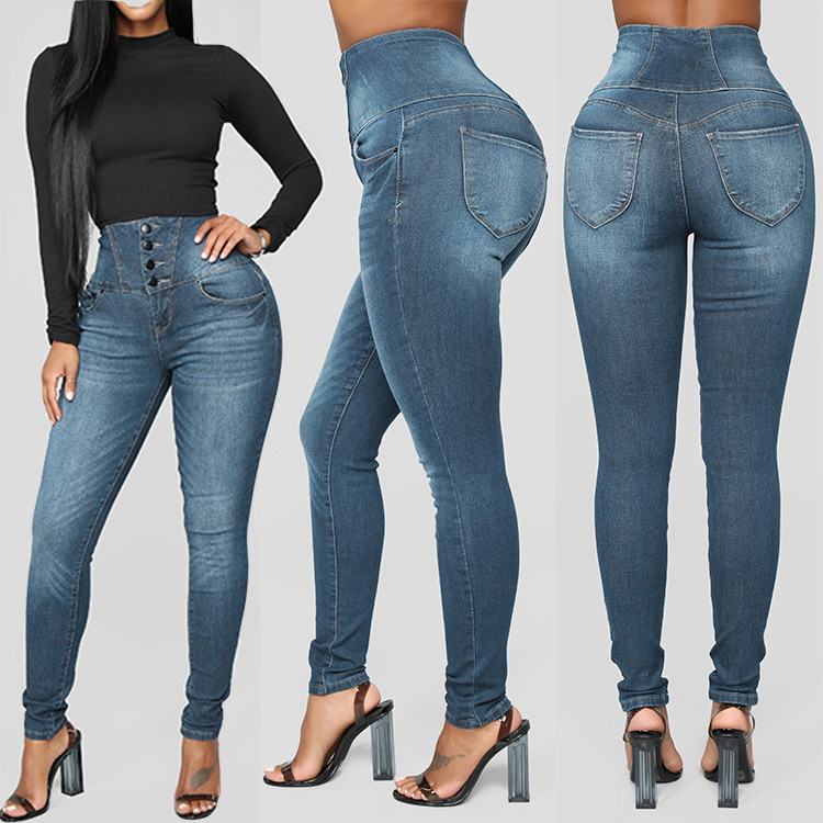 New Fashion   Jeans   Women Autumn Hi-waist Elastic ButtoPlus Loose Hole Denim Casual Small Feet Cropped   Jeans   PLUS SIZE TO 5XL