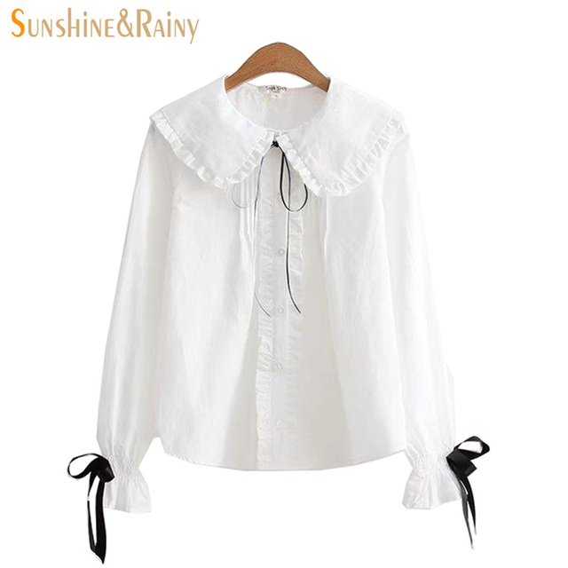 c6dac30e1426d8 2017 autumn winter women bow shirts long sleeve cotton linen ladies blouse  tops loose peter pan collar sweet cute blouse tops