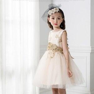 Image 5 - JaneyGao 2019 אופנה פרח ילדה שמלות למסיבת חתונה אלגנטי שמפניה שמלת טול שמלה עם רקמת תחרה אפליקציות