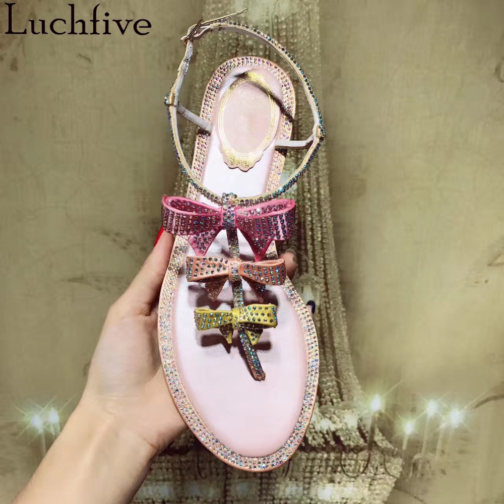 Charming Fairy Shinny Crystal studded Flats Sandals women Butterfly Knot flip flops Drilled dress Hot sell summer party Shoes