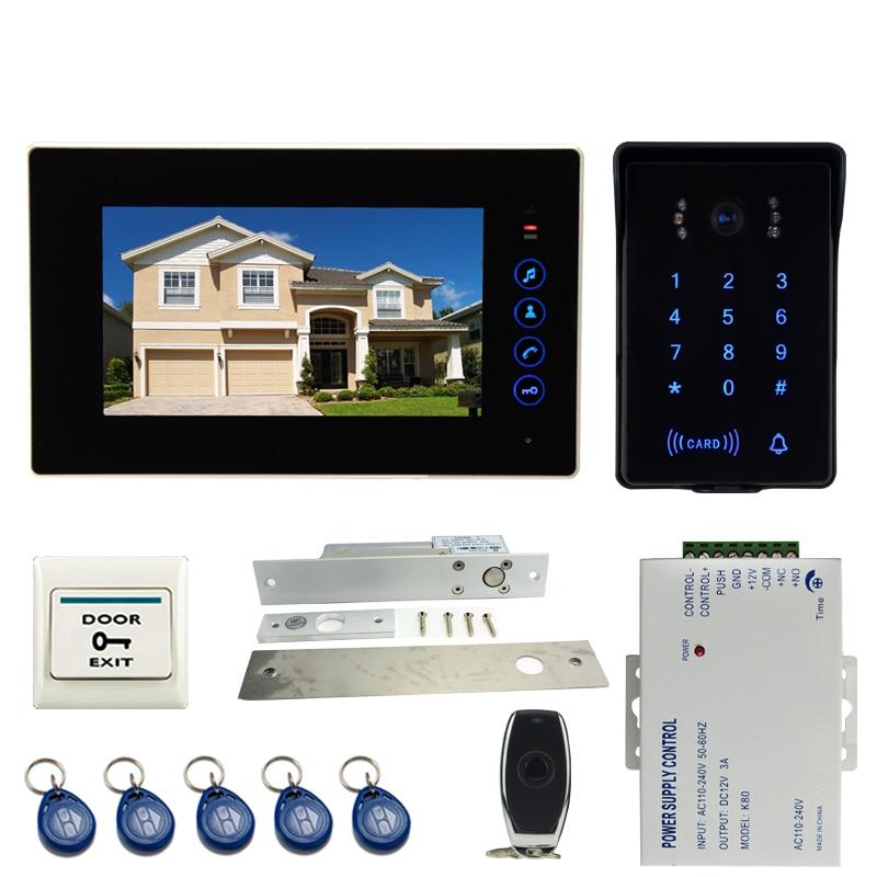 JEX 7 Inch LCD Video Door Phone Intercom System Kit 1 Monitor + 700TVL Waterproof Password Keypad RFID Camera  1V1