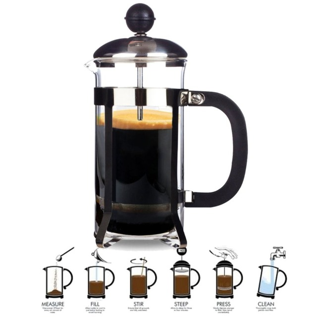 350ML Compact Size Household Use Stainless Steel Glass French Press Pot Filter Cafetiere Tea Coffee Maker Coffee Tool 1