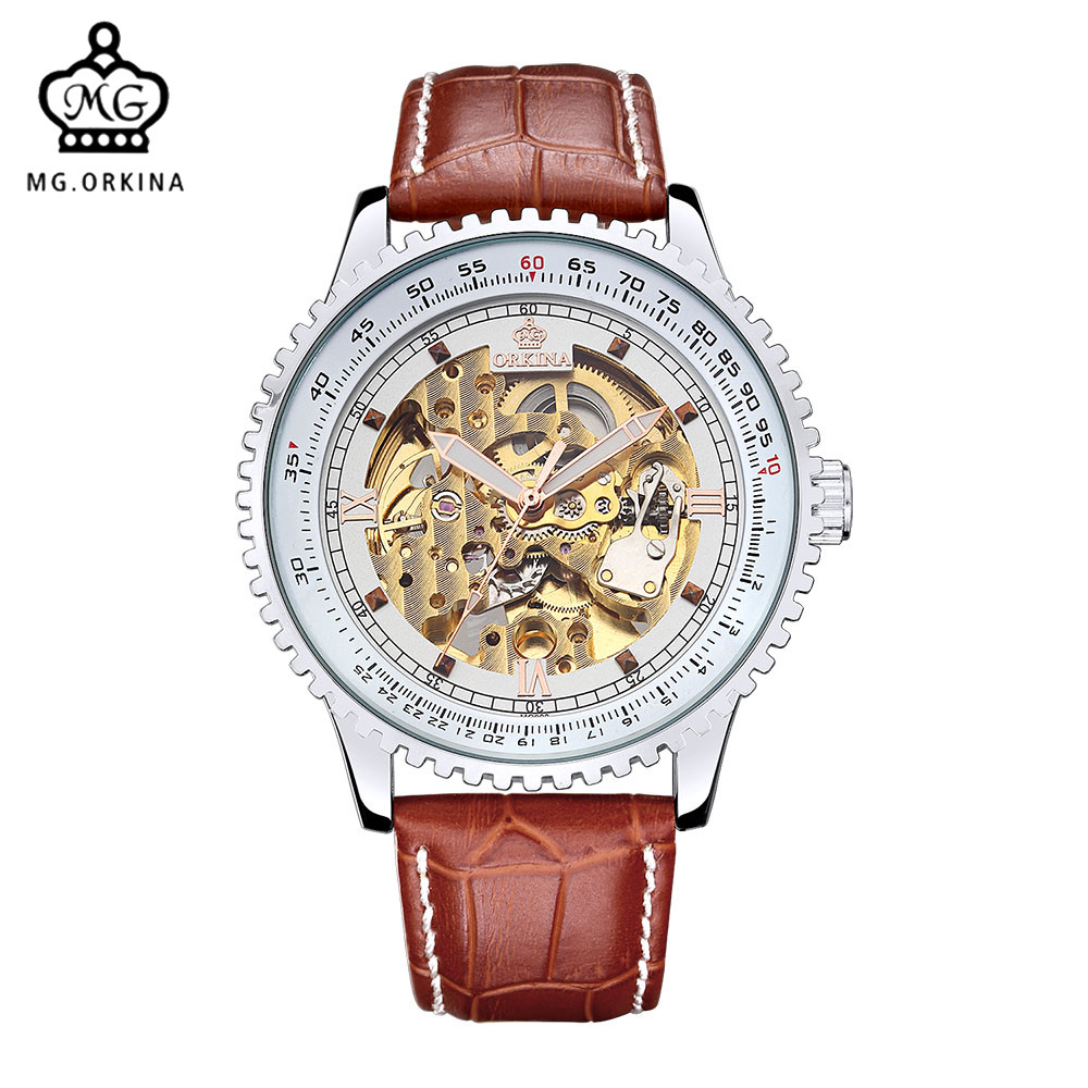 MG. ORKINA Mens Watches Classic Skeleton Relogio Automatico Masculino Mechanical Leather Male Clock Hand Watch Horloges Mannen