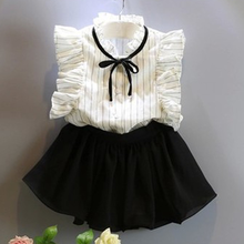 2019 New Summer Blast elegant black and white girl middle child two set temperament striped shirt + sweet cute skirts