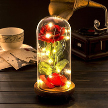 f6c1f3ae4e Beauty and the Beast Red Silk Rose LED Light with Fallen Petals in Glass  Dome on