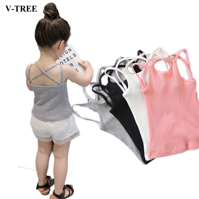 Summer Tops For Girls Fashion Girl T-shirt 0-6T Girl Underwear Kids Clothing Baby Camisole Sleeveless Toddler Undershirt girl