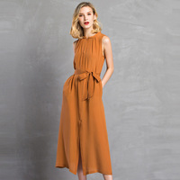 2017 summer fashion silk dresses women's boutique large size female long silk dress orange navy wine fairy look