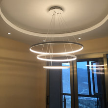Personality Chandeliers Circular Ring Chandelier lamp Acrylic LED Chandelier Lights round fixtures for living room bedroom lamp(China)