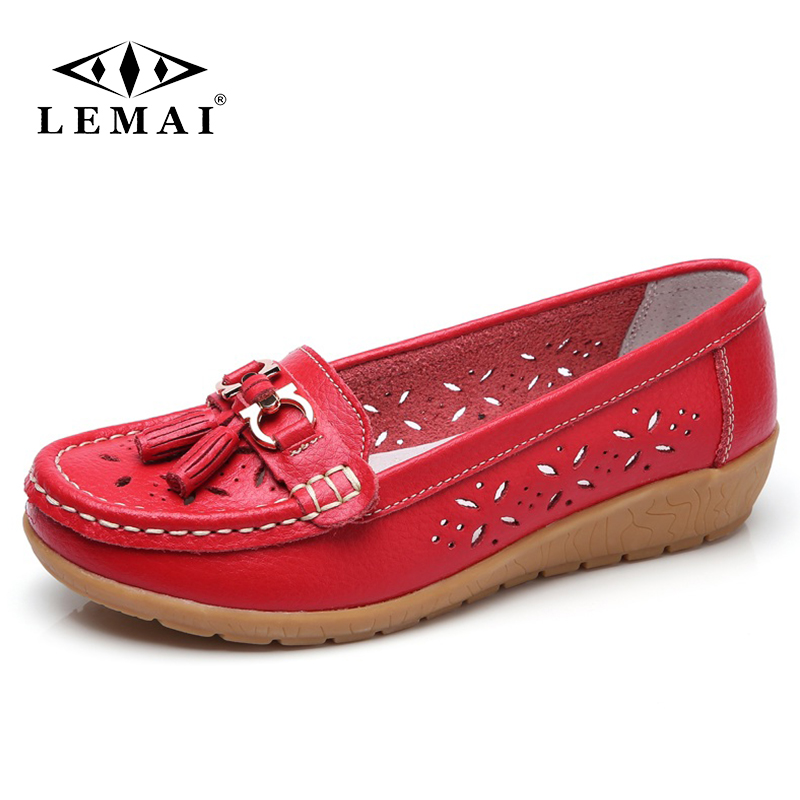 2018 spring women genuine leather ballet flats casual shoes round toe flats slip on loafers casual