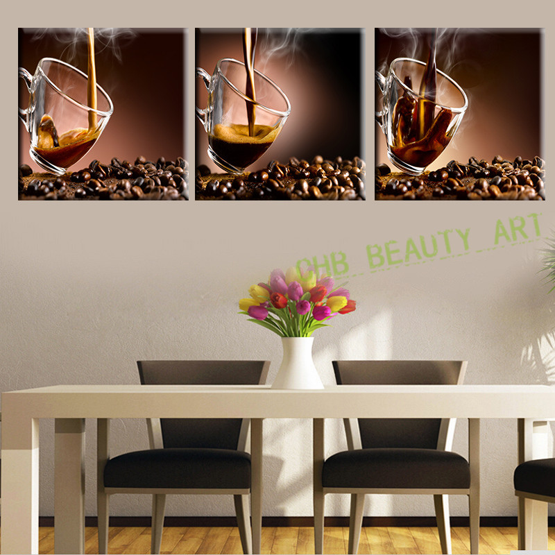 3 Panel Modern Canvas Art Cup Of Hot Coffee Canvas Painting Wall Pictures  For Dining Kitchen Room HD Print Artwork In Painting U0026 Calligraphy From  Home ...