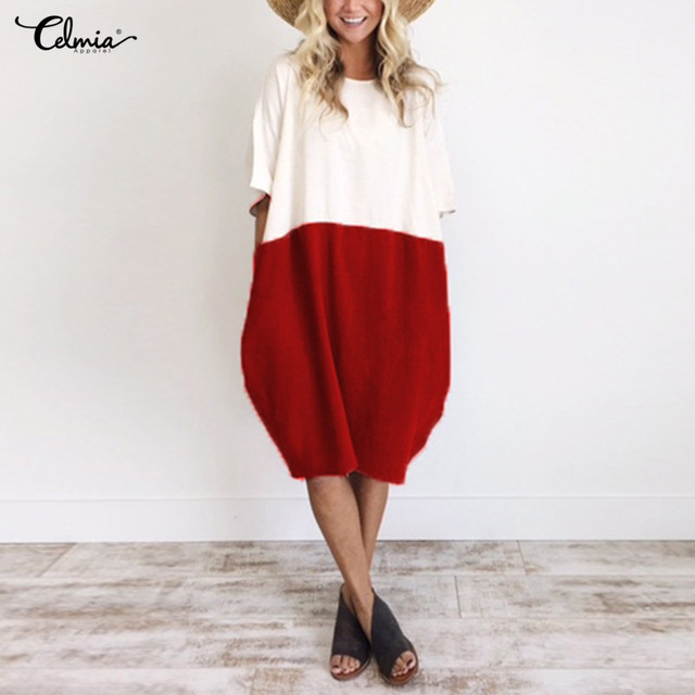 6ddbf0bb5a9 Women Oversized Summer Dress 2018 Celmia Ladies O Neck Half Sleeve Pockets  Patchwork Casual Loose Shirt