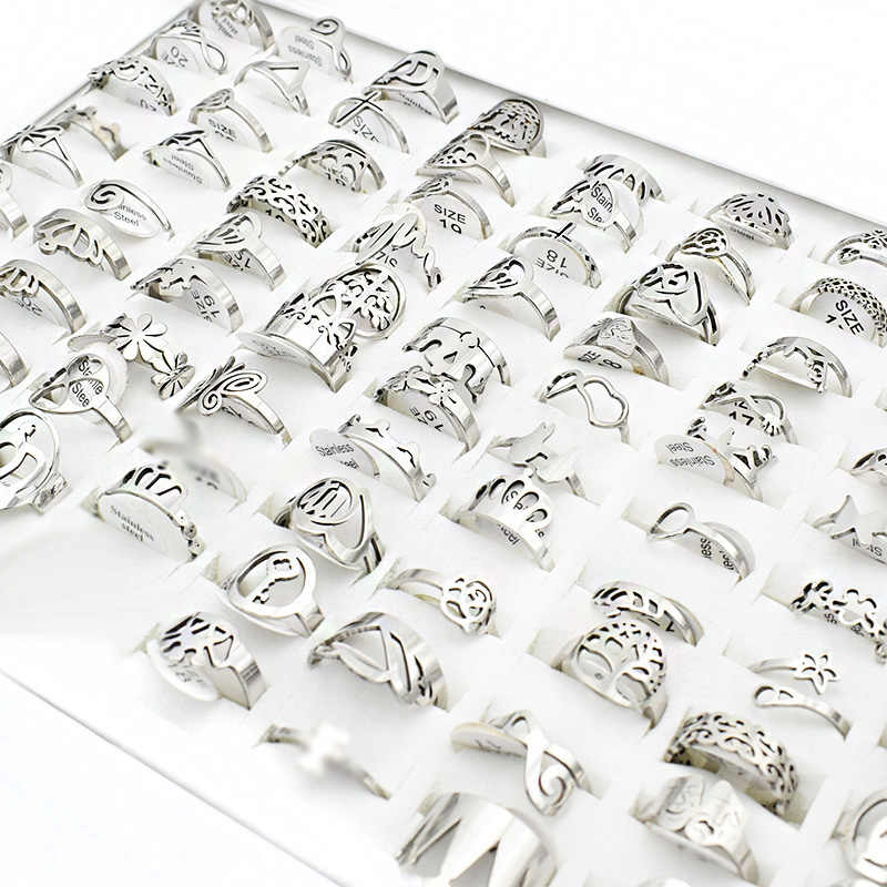 20 Pieces/lot Small Mix Stainless Steel Rings for Women Music Butterfly Flower Charm Cross Love Letter Ring Wholesale lots bulk