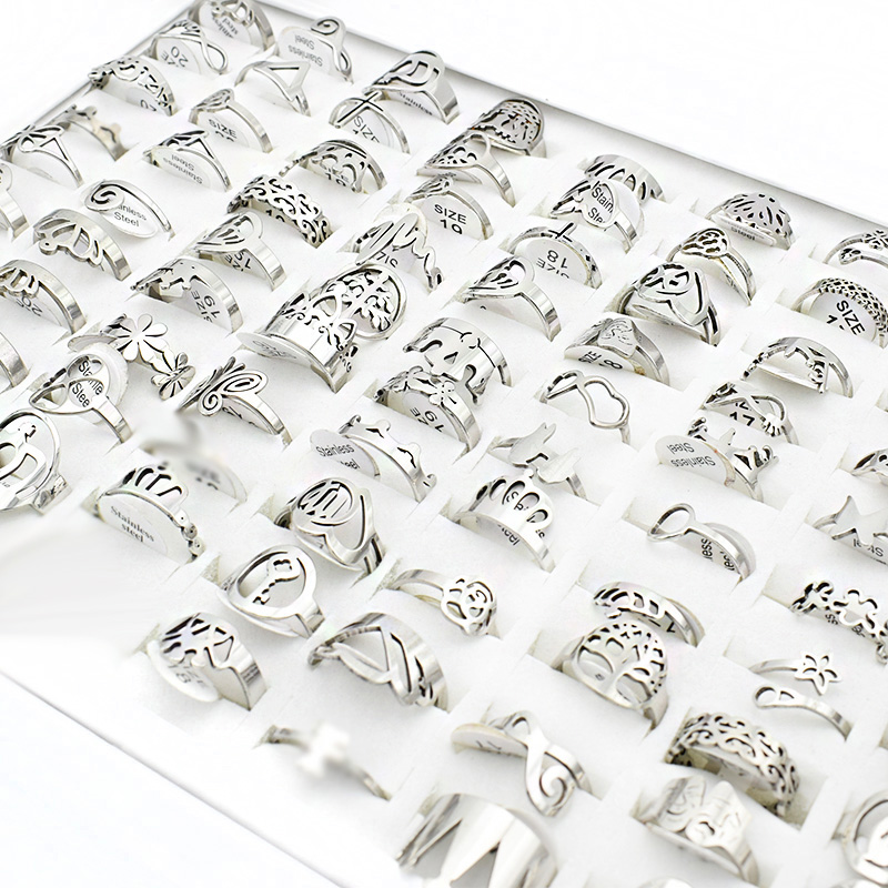 20 Pieces/<font><b>lot</b></font> Small Mix Stainless Steel Rings for Women Music Butterfly Flower Charm Cross Love Letter Ring <font><b>Wholesale</b></font> <font><b>lots</b></font> <font><b>bulk</b></font> image