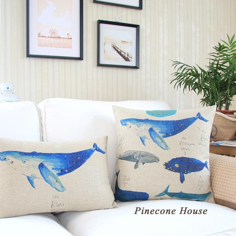 Sea Series Whales Pillows Thick Pillow Cover Cotton Linen Decorative Simple Cheap Decorative Pillows Wholesale