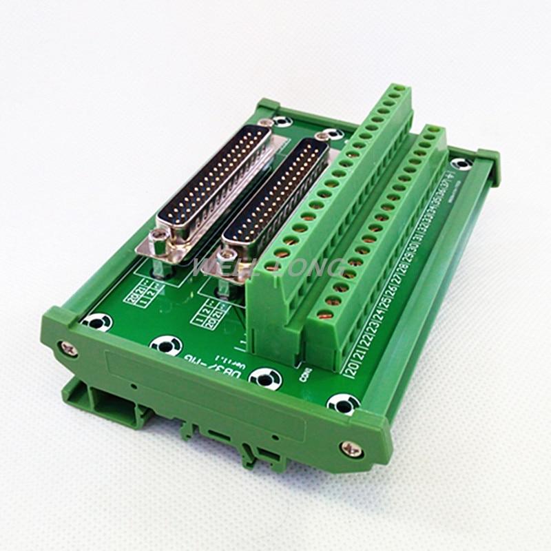 D-SUB DB37 DIN Rail Mount Interface Module, Double Male Header Breakout Board, Terminal Block, Connector.