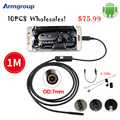 Armgroup 10pcs 7mm Lens Android Endoscope Camera 1M Waterproof Snake Tube Micro USB Borescope Camera Endoscopio Android Phone