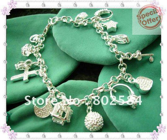 Promotion sales!Freeshipping 925 silver bracelet,13 tags pendant bracelet,HOT GIFT