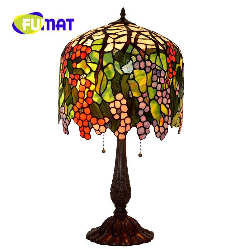 FUMAT style rétro européen de luxe salon lampe de Table raisin couleur verre décoration longue tubulaire ronde chambre lampe de chevet
