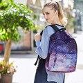 Gran capacidad colful multicolor mujeres morral de la lona con estilo galaxy star universo espacio mochila backbag escuela regalo de las muchachas