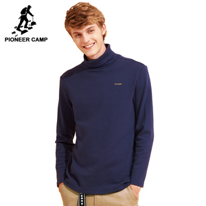 Pioneer Camp new casual turtleneck T shirt men brand-clothing solid high collar T-shirt male quality stretch Tshirt ACT702271