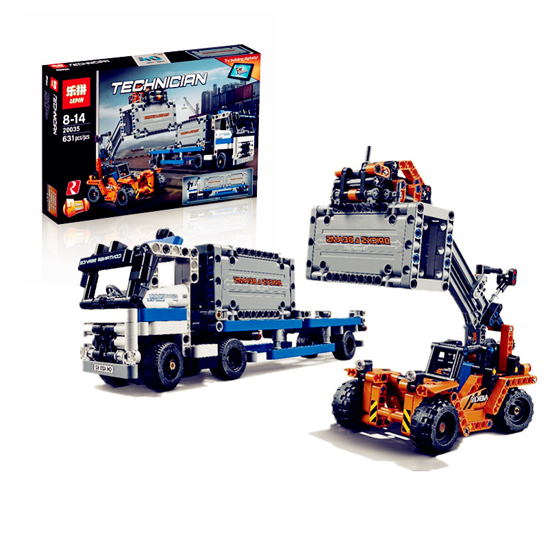 ФОТО IN STOCK Lepin 20035 631Pcs Technic Series The Container Trucks and Loaders Set Building Blocks Bricks Educational Toys with4206