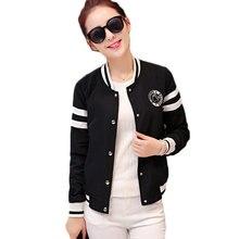 Autumn Fashion Female Baseball Jackets Stand Neck Slim Tops Women Winter bomber jacket Ladies Korea Style Black White Outerwear
