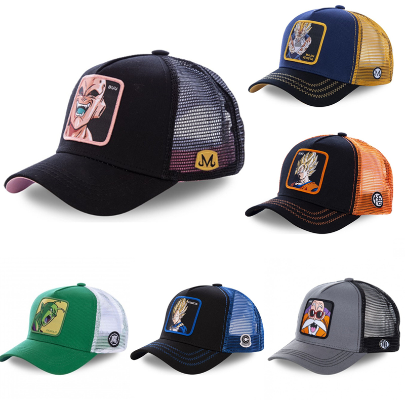 New Summer Cartoon Dragon Ball Z Mesh   Baseball     Caps   Snapback Anime Embroidery for Women Men Outdoor Truck Driver Dad Hat